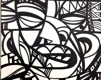 """The boxer original signed marker drawing by charles state graffiti cubism abstract style 9x12"""""""