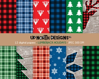 Lumberjack Digital paper Holidays Rustic Christmas Lumberjack Scrapbook Paper Personal and Commercial Use