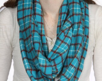 Cozy Blue and Red Plaid Infinity Scarf