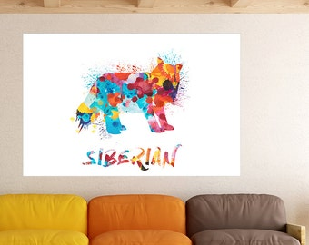 Siberian Cat Watercolor Splatter Art