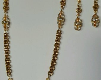 on sale Chain maille hand crafted brass and brown,  byzantine necklace and earrings set