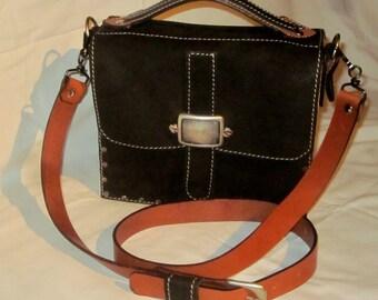 "Bag leather and wood ""geometrik"""