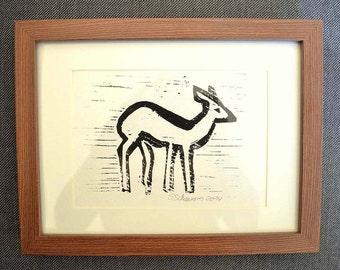 Deer linocut linoleum print black white