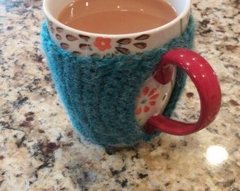 Reusable crochet coffee cozy sleeve