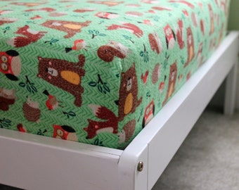 Flannel Woodland Creatures Green Brown Bears Owls Foxes Outdoors Neutral Handmade Crib Toddler Sheets Bedding