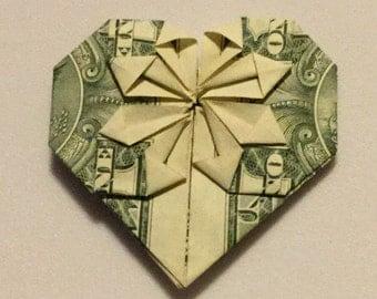 Origami Dollar Bill Heart