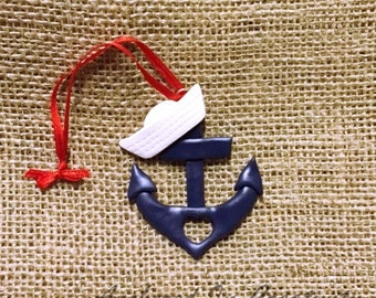 Anchor Ornament, Anchor with Sailor Hat Ornament, Navy ornament, Christmas Ornament, Holiday Ornament