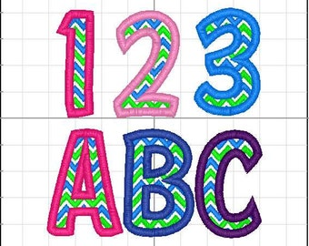 how to embroider letters zig zag font etsy 1301