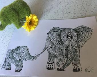 Elephant and Baby Illustration