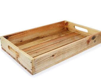 Recycled pallet-mounted wooden tray serving tray
