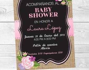 Invitation Floral Baby Shower de Niña Digital, downloadable, Personalizada-rustica, Nina, floral, pink, Blackboard, chalk.