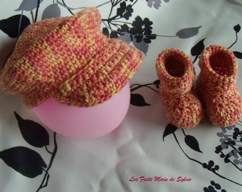 Together Cap booties crochet 0/3 months