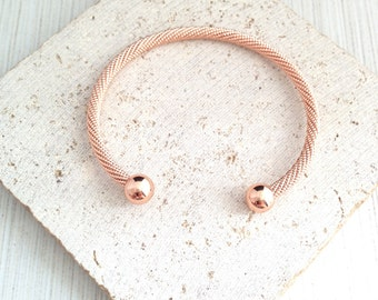 Rose Gold Bracelet,Rose Gold Twisted Bracelet,Rose Gold Open Cuff Bracelet,Ball End Rose Gold Bracelet,Rose Gold Rope Bracelet,Rose Bangle