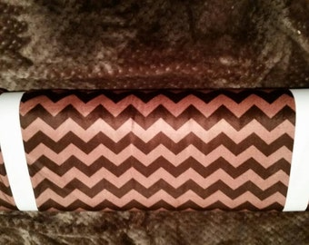 Riley Blake Designs Brown Chevron Minky Fabric