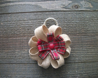 Plaid Burlap Bow Ornament, Handmade Burlap Christmas Ornaments, Rustic Gift Tags, Christmas Gifts, Burlap Gift Bows
