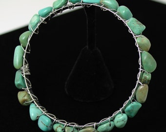 Chunky Green Semi Precious Turquoise Bangle