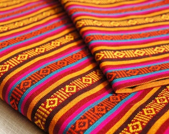 Tribal Fabric, Upholstery Fabric, Stripe Fabric by the Yard, Handwoven Fabric Bhutanese style, for Home Decor, Bag making