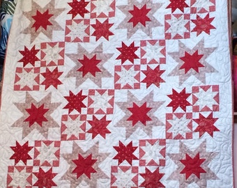 Red and Beige Stars Quilt