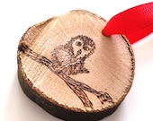 Bird Ornament - woodburning pyrography Christmas decorations