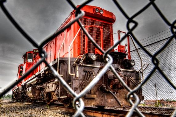 Caged Locomotive Train Red Train Red Locomotive Diesel