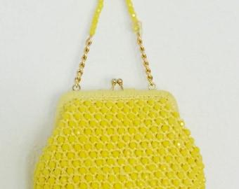Vintage Yellow Beaded Raffia Purse