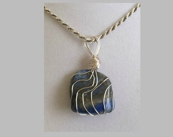 Lapis Lazuli Pendant, Handmade, Wire Wrapped Crystal (Silver Wire #7)