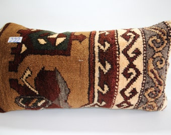 Vintage Turkish Carpet Pillow Cover 12x24 Lumbar Pillow Turkish Pillow 12x24 Faded Brown Pillow Bohemian Pillow SP3060-222