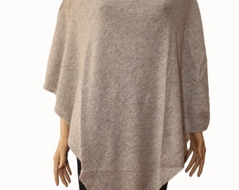Light Grey 100% Cashmere Poncho One size