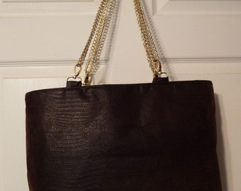 Faux Leather Brown Tote