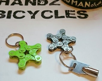 Recycled Bicycle Chain Key Chain or Ornaments. Star Shaped. Multiple Colors. FREE SHIPPING!!