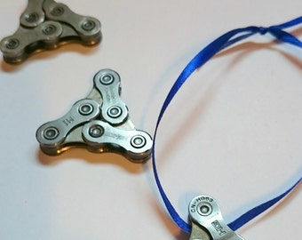 SALE!! Buy two ornaments or keychains, get a FREE Triangle ornament!! Bicycle Chain Key Chain or Ornanament.
