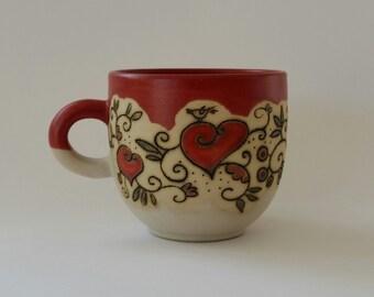 ceramic stoneware cup, St. Valentine's day, hart, handmade