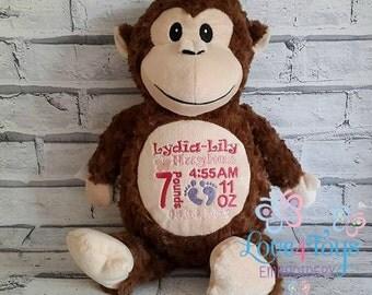 Personalised Monkey Teddy Cubbies Keepsake New Baby