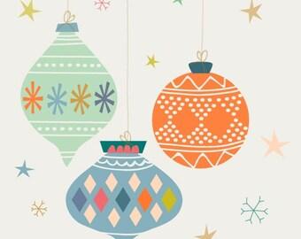 "Christmas Art, Holiday Decor, ""Ornaments"""