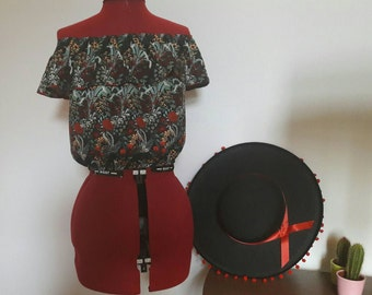 1940 mexican peasant blouse style with ruffle