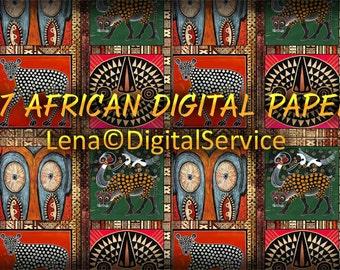 17 African Digital Paper  INSTANT DOWNLOAD 12x 12 inch scrapbook decoupage tribal printable