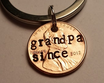Grandpa Since Penny Keychain, Grandfather Gift, Birthday, Keychain, Lucky Penny Keychain, Grandpa Keychain, Gift for Men, New Grandfather