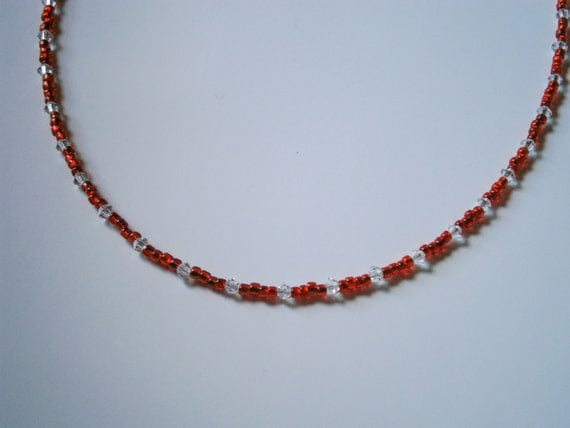 Beaded Necklace: Red Seed Bead Necklace with Swarovski Crystals