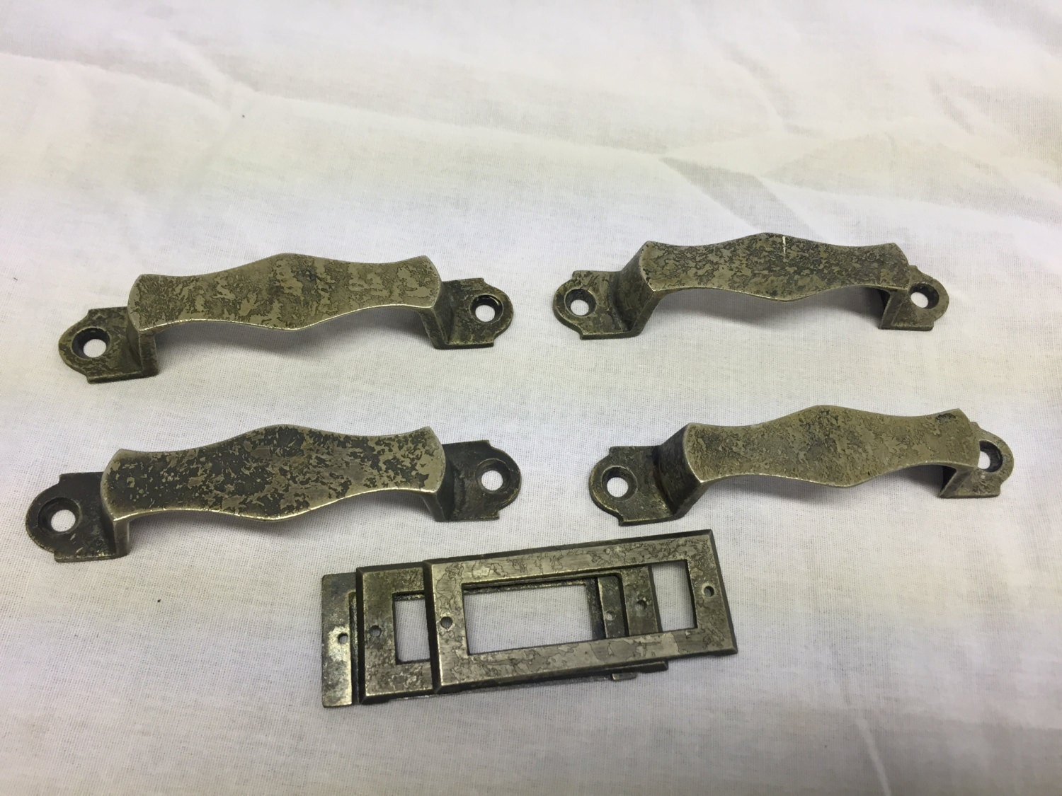lot of 4 nickel antique file cabinet drawer pulls with 4
