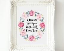 A Dream That You Wish Will Come True,  Cinderella Art, printable  Cinderella wall art , Walt Disney Quote, Nursery Print, Disney printable