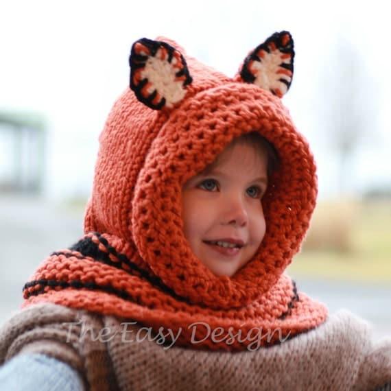 Hooded Neck Warmer Knitting Pattern : Knitting pattern, Patron tricot   Faye Fox Hooded Cowl Hood Hat Neck warmer (...