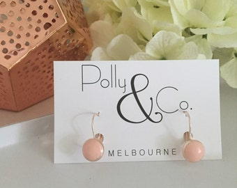 Rose Gold Plated Polymer Clay French Lever Back Earrings- peachy pink