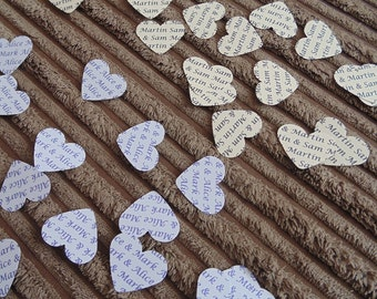 150 Personalised Wedding Heart Confetti Favours - Names/any wording