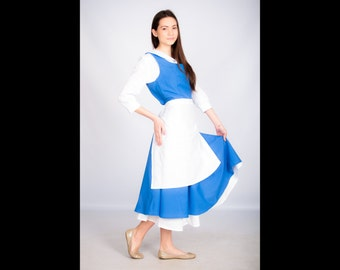 Adult Belle cosplay costume, blue dress, The Beauty and the Beast, Disney princesses, adult, village, Halloween costume