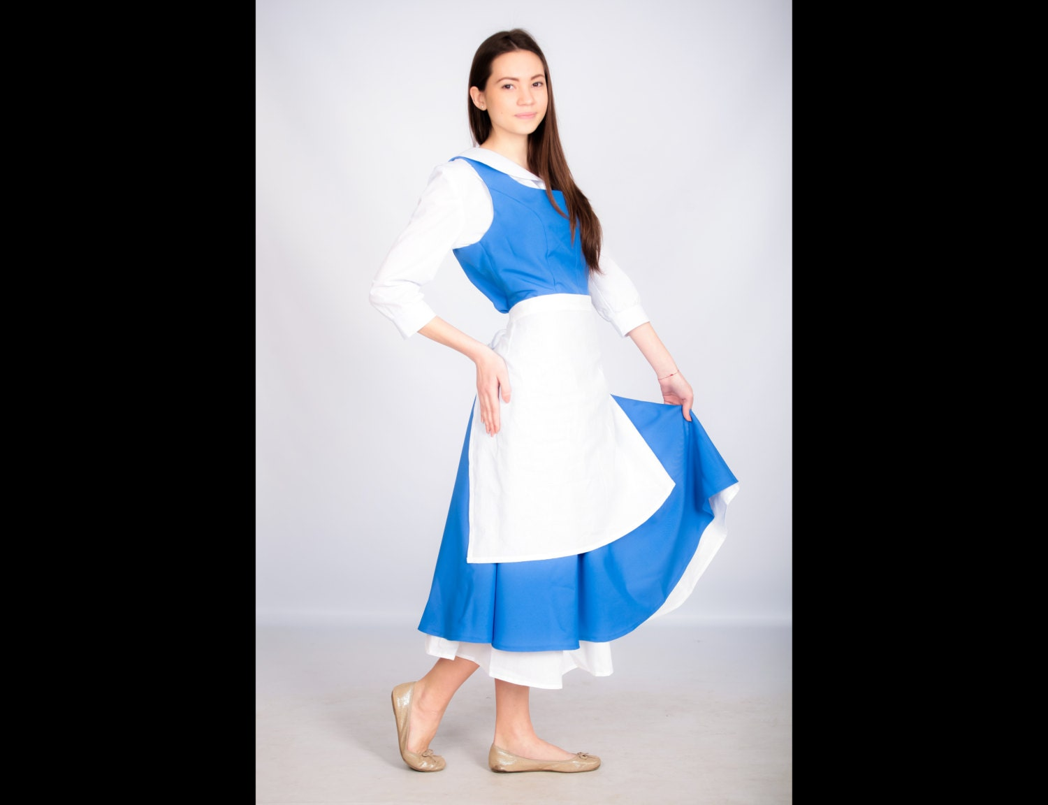 Adult Belle cosplay costume blue dress The Beauty and the