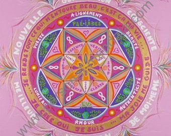 Mandala 'New generation aware' (Reproduction on canvas)