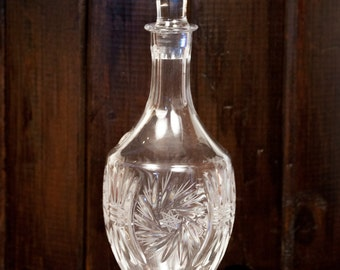 Kristal Leaded Crystal Decanter Yugoslavia Star Pattern Intricate Whiskey Vintage