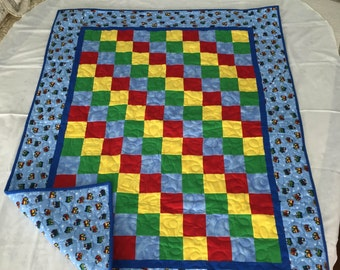 Flannel Train Quilt with receiving blanket, bib and burp rags