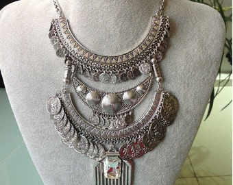 Bohemian Coin & Crystal Statement Necklace