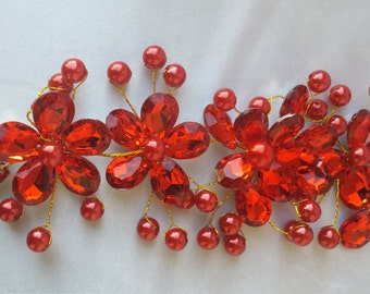 Red Bridal Hairpins Red Bridal Hairpins Red Pearl Hairpins Red Wedding Hairpins Red Wedding Hair Accessories Red Bridal  Wedding Accessories